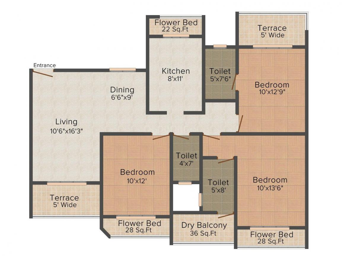 Floor Plan Image of 1895 - 2110 Sq.ft 3 BHK Apartment for buy in SV Hill's Residency