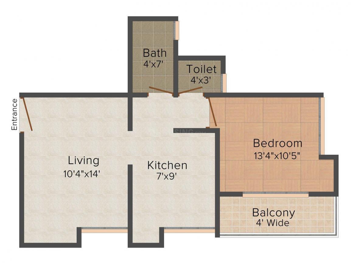 Floor Plan Image of 0 - 697.0 Sq.ft 1 BHK Apartment for buy in Adarsh Krutika