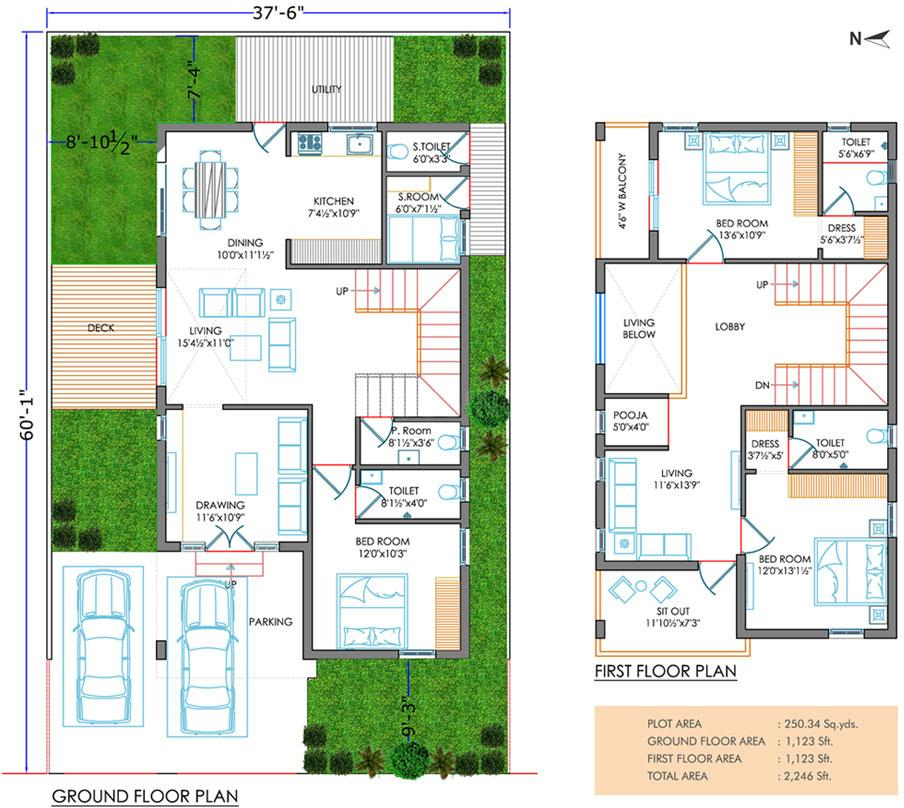Kavuri Forest Nest Floor Plan: 3 BHK Unit with Built up area of 2246 sq.ft 2