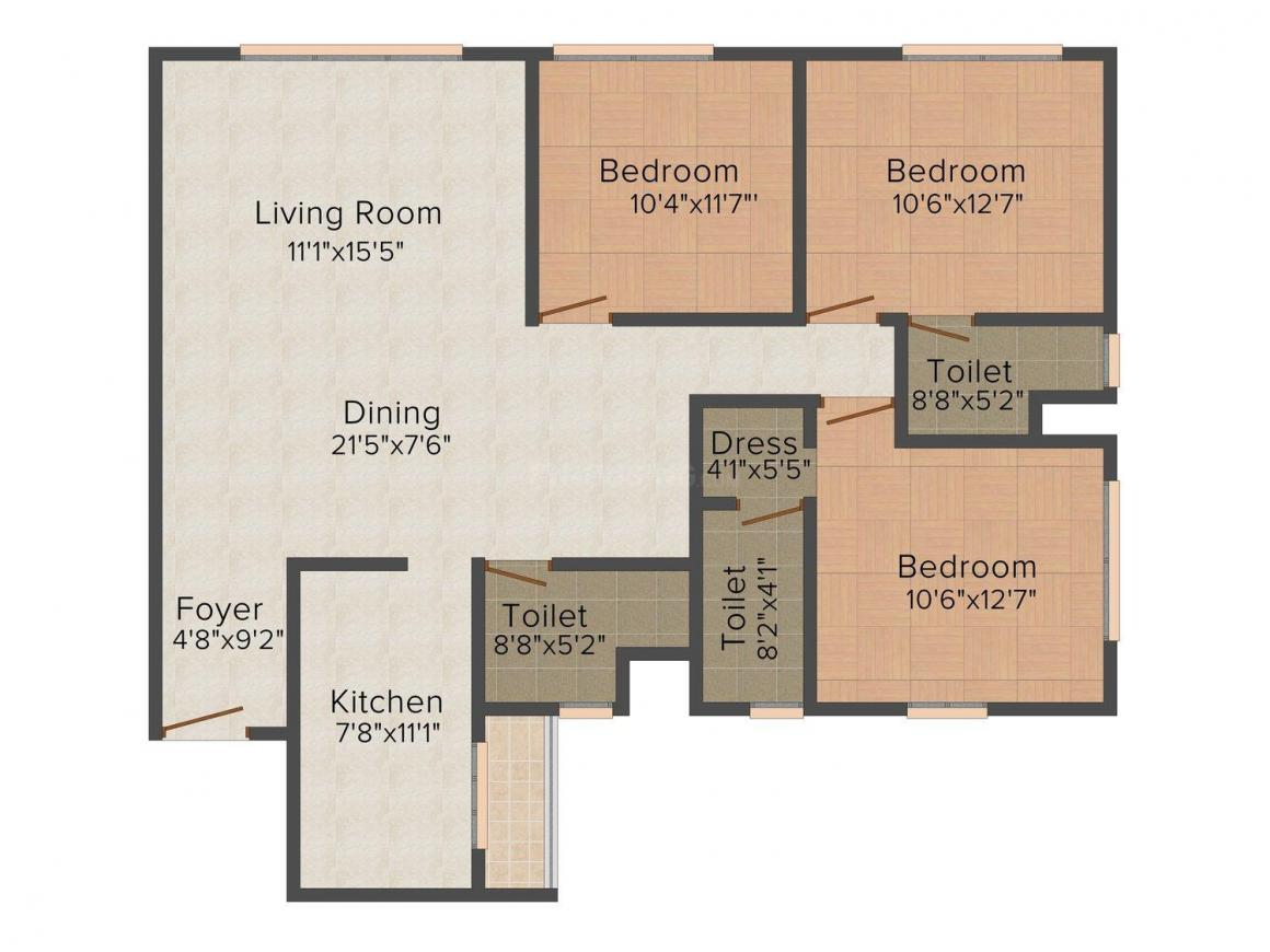 Urbana Floor Plan: 3 BHK Unit with Built up area of 1833 sq.ft 1