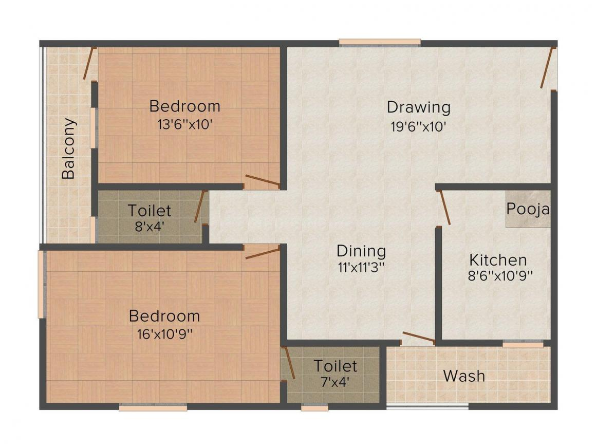 Vasavi Residency Floor Plan: 2 BHK Unit with Built up area of 1215 sq.ft 1