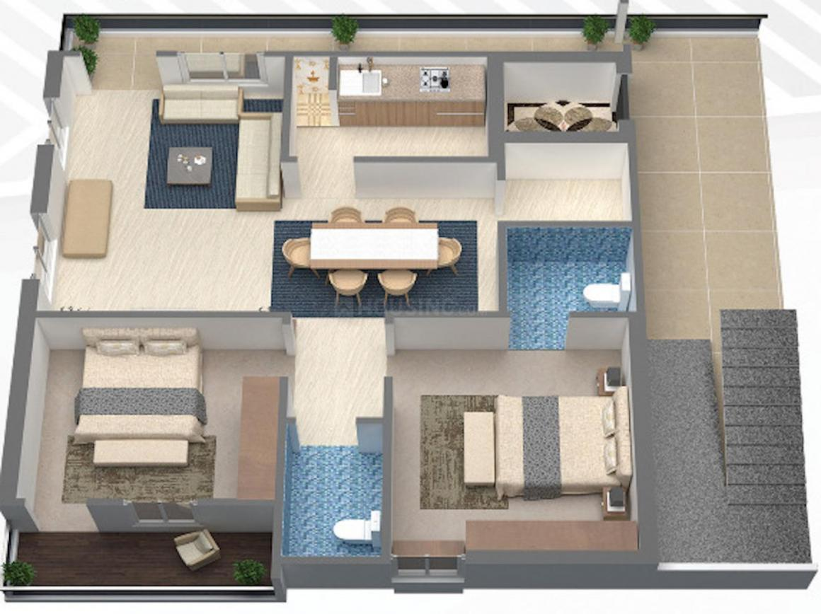 Jayanti Western Prime Floor Plan: 2 BHK Unit with Built up area of 1120 sq.ft 1