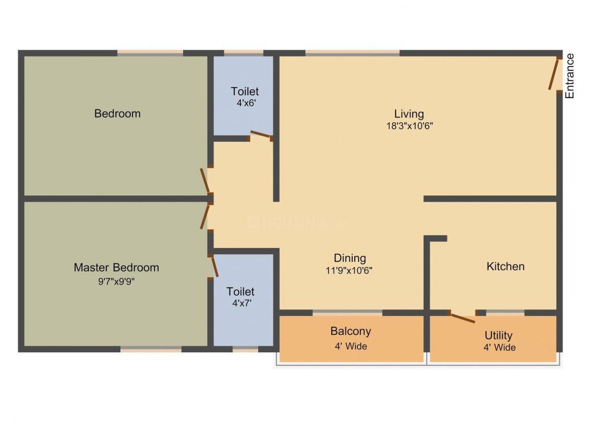 Avantika Lasya Floor Plan: 2 BHK Unit with Built up area of 1050 sq.ft 1