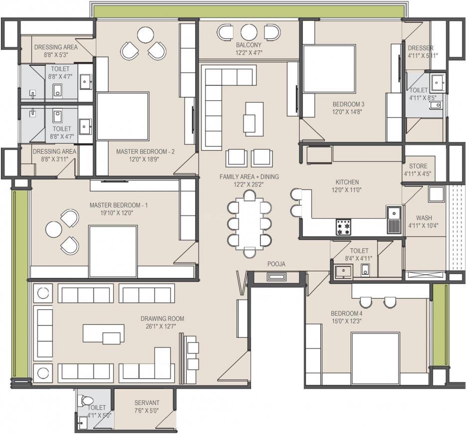 Vishnu Giriraj Horizon Floor Plan: 4 BHK Unit with Built up area of 2059 sq.ft 1
