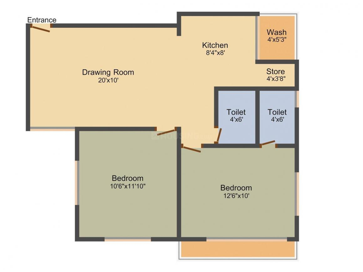 Vishwanath Pacharatna Floor Plan: 2 BHK Unit with Built up area of 927 sq.ft 1
