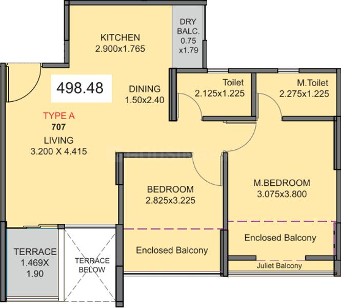 Kohinoor Tinsel County Phase I Floor Plan: 2 BHK Unit with Built up area of 498 sq.ft 1