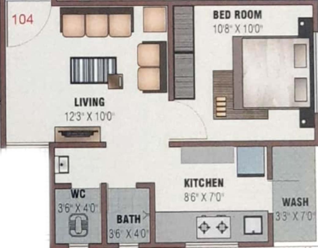 Shree Shreehari Parisar Floor Plan: 1 BHK Unit with Built up area of 355 sq.ft 1