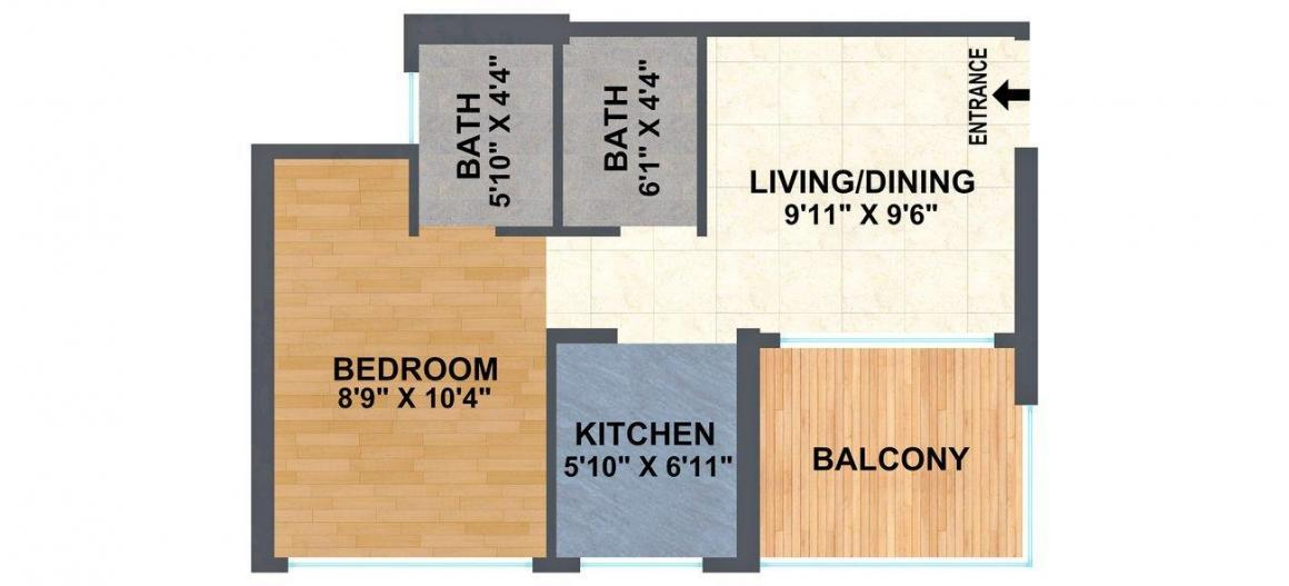 A & O Excellente Floor Plan: 1 BHK Unit with Built up area of 317 sq.ft 1