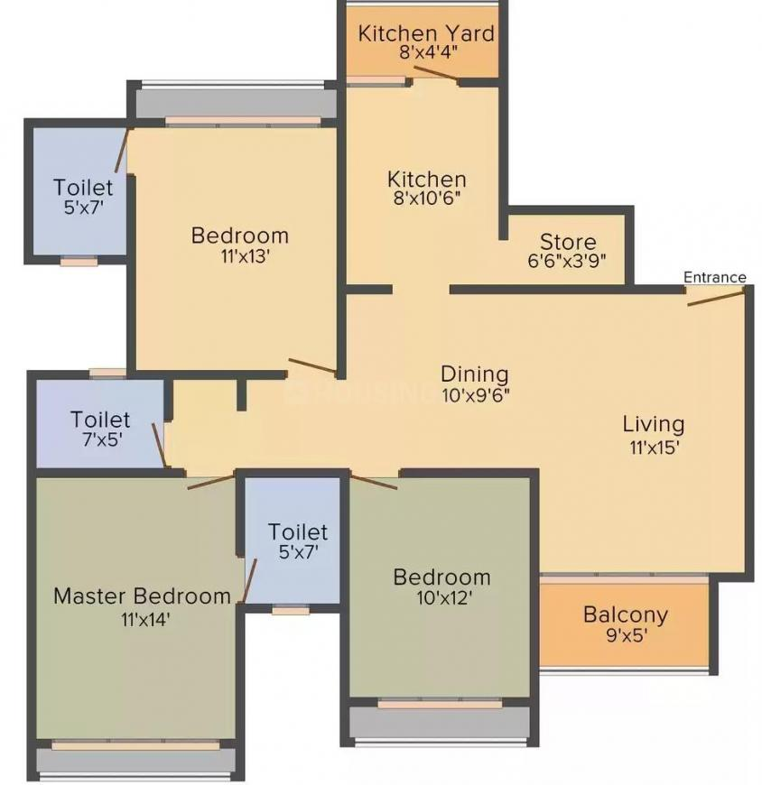 Goyal Vishal Tower Floor Plan: 3 BHK Unit with Built up area of 1665 sq.ft 1