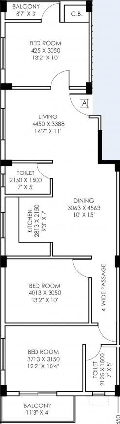 Danish Shakti Co Operative Housing Society Ltd Floor Plan: 3 BHK Unit with Built up area of 1475 sq.ft 1