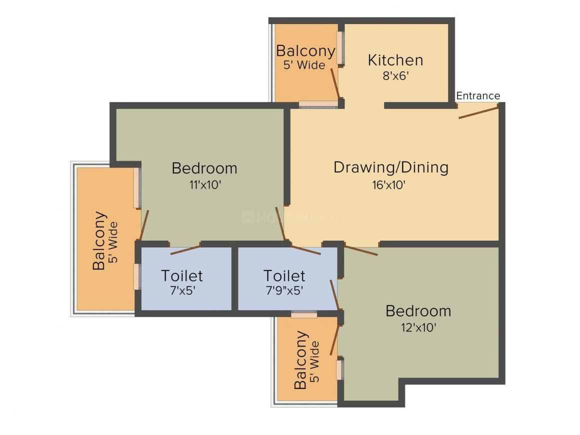 Aarza Heights Floor Plan: 2 BHK Unit with Built up area of 1050 sq.ft 1