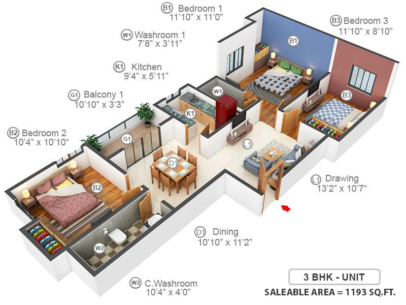 Windsor The Residence Floor Plan: 3 BHK Unit with Built up area of 1193 sq.ft 1