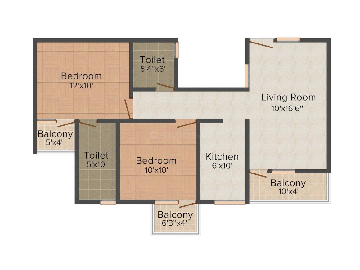 Floor Plan Image of 938 - 2108 Sq.ft 2 BHK Apartment for buy in Rudra Greens