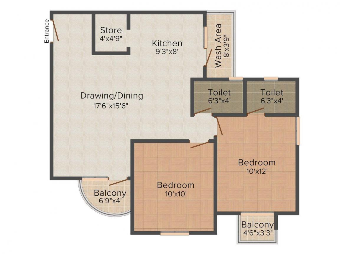 Shree Siddhi Ganesh Genesis Floor Plan: 2 BHK Unit with Built up area of 1260 sq.ft 1