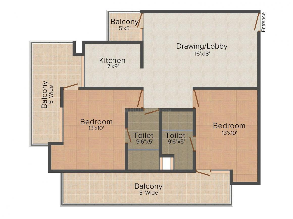 Impression Infracon Defence Heights Floor Plan: 2 BHK Unit with Built up area of 1280 sq.ft 1