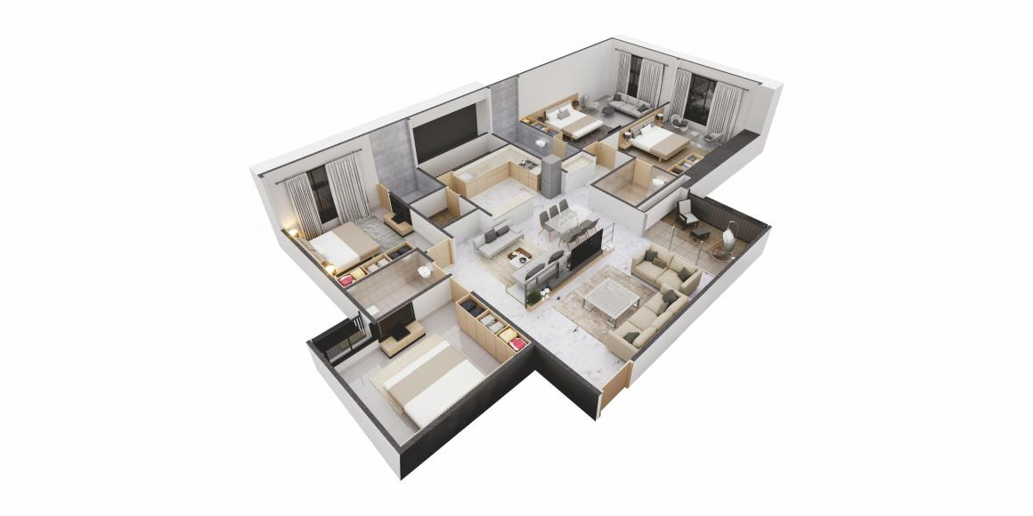 Visionnair Floor Plan: 4 BHK Unit with Built up area of 3280 sq.ft 1