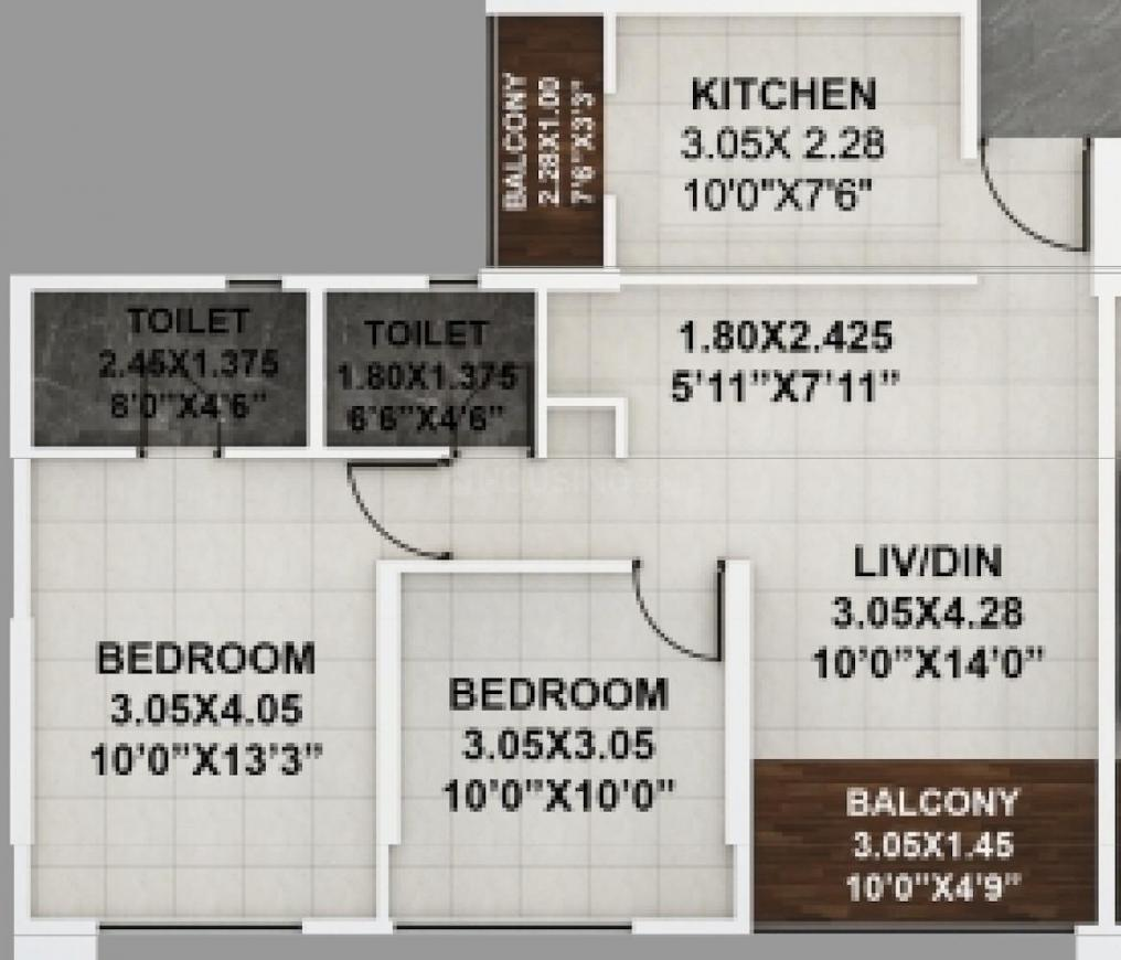 Kumar Palaash A1 Floor Plan: 2 BHK Unit with Built up area of 601 sq.ft 1
