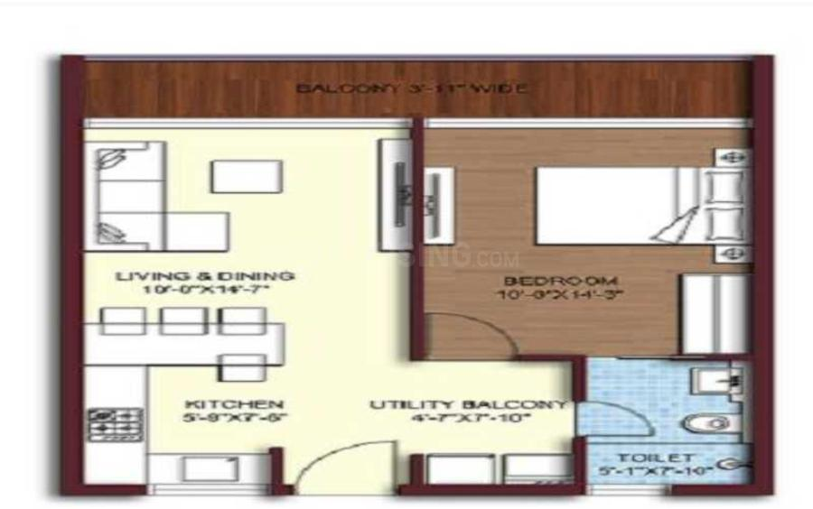 Sikka Kimaya Greens Floor Plan: 1 BHK Unit with Built up area of 775 sq.ft 1
