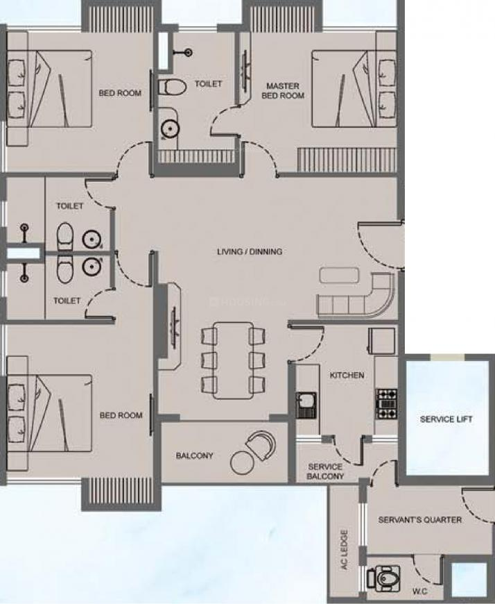 Mani Megh Mani Floor Plan: 3 BHK Unit with Built up area of 1722 sq.ft 1