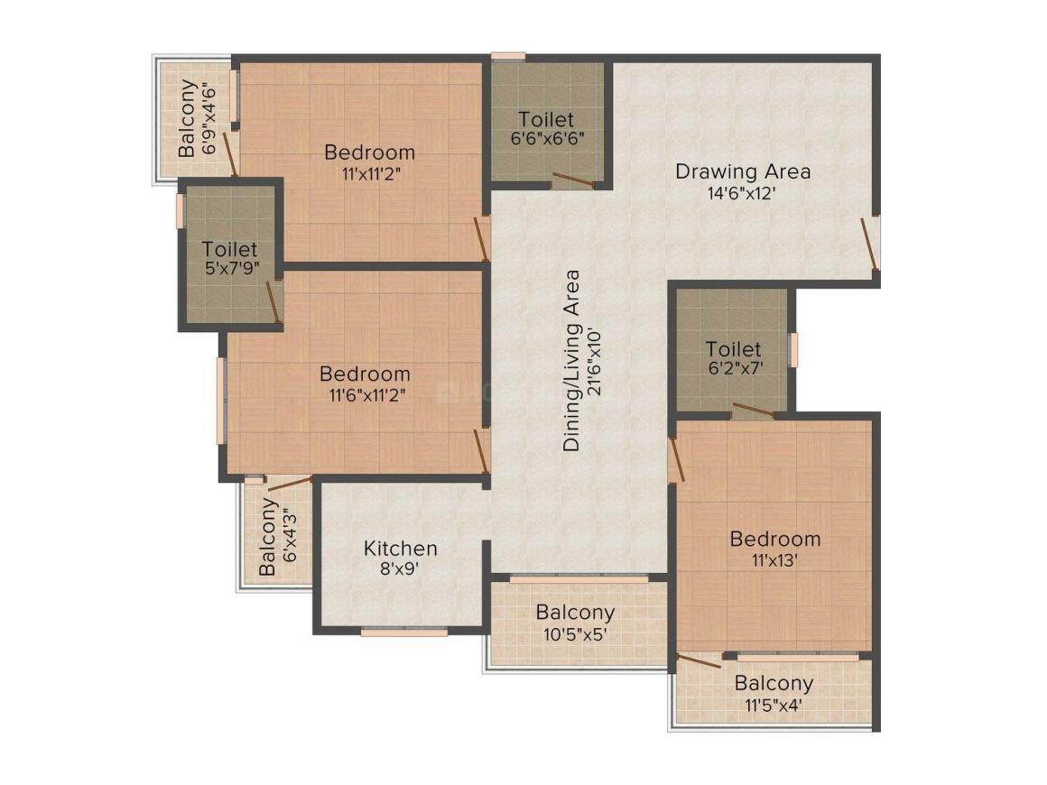 Floor Plan Image of 1686 - 3425 Sq.ft 3 BHK Apartment for buy in Unique Aranya