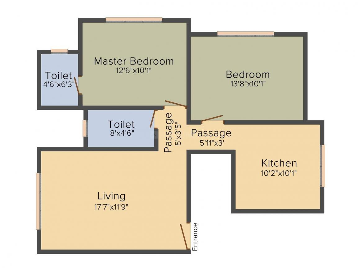 Kamla Pushpa Kamal Floor Plan: 2 BHK Unit with Built up area of 680 sq.ft 1