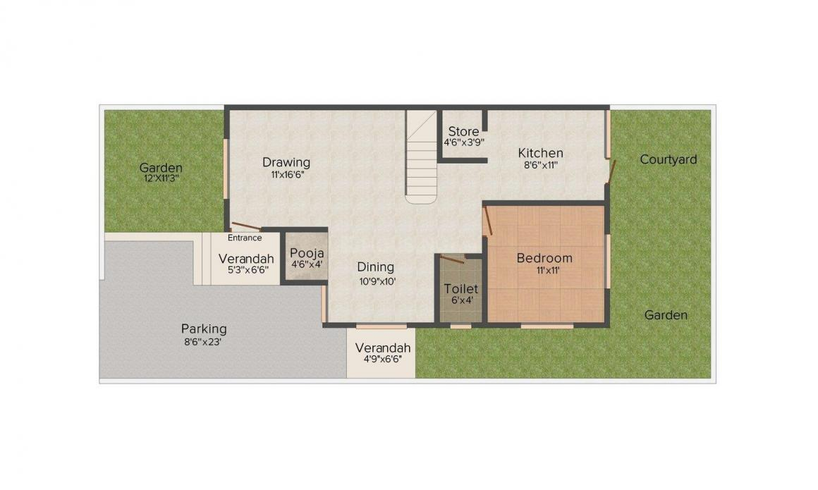 Aryaman Sanidhya Homes Floor Plan: 4 BHK Unit with Built up area of 2322 sq.ft 1