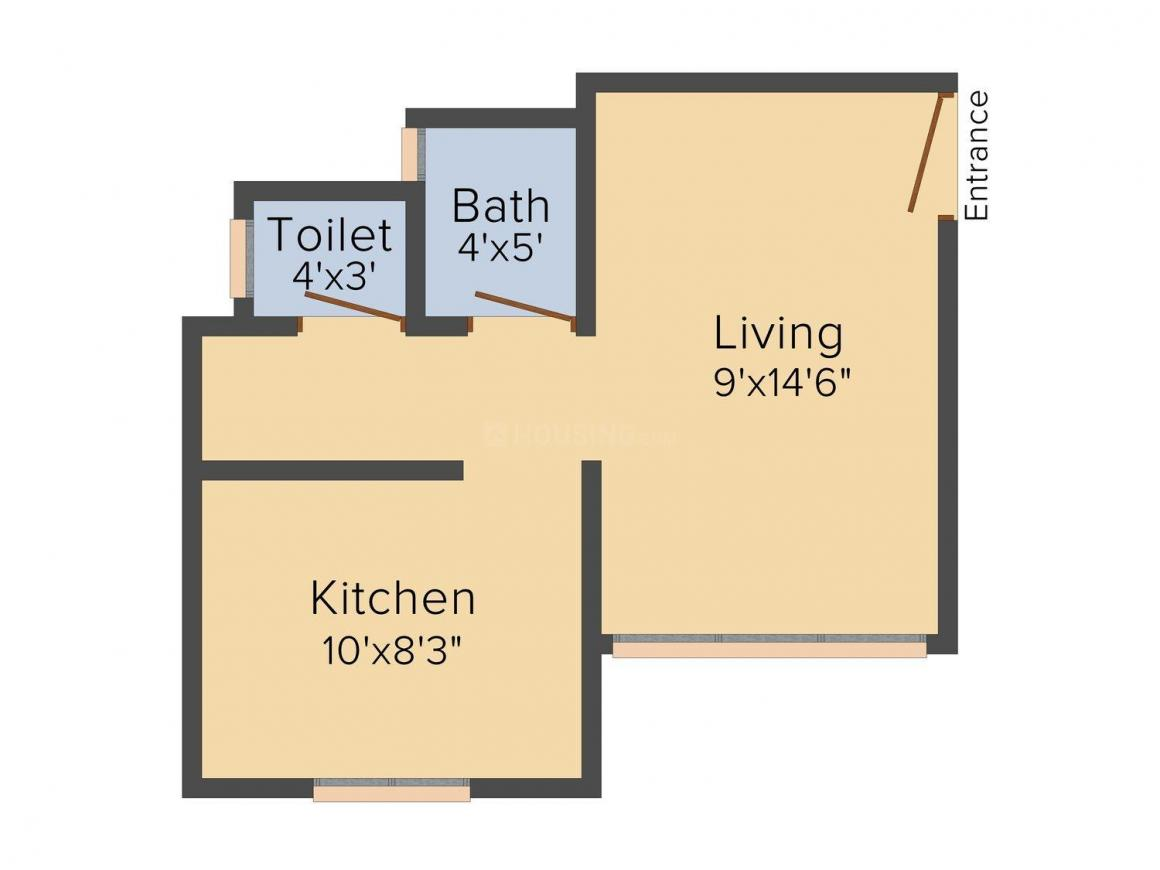 Floor Plan Image of 425.0 - 735.0 Sq.ft 1 RK Apartment for buy in P & V Tulsi Dham