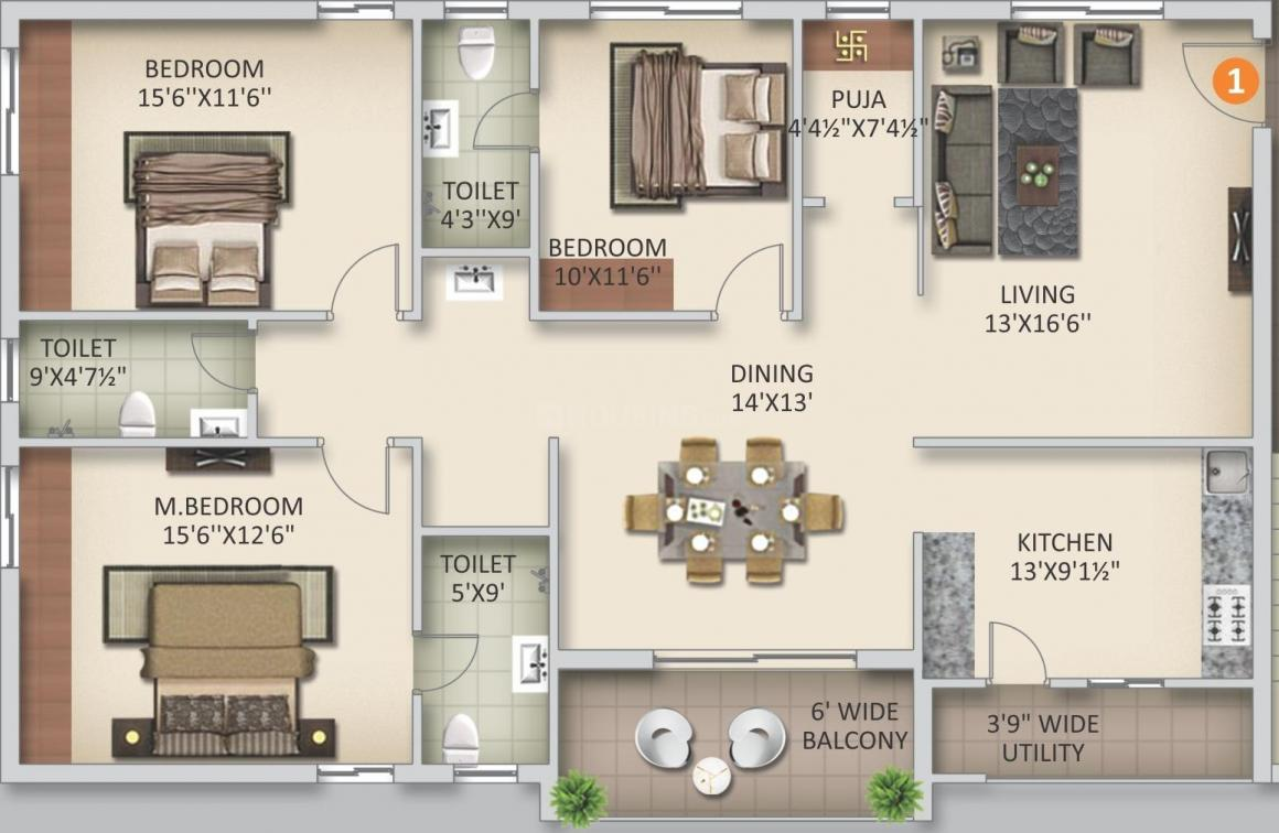 Anuhar Sunny Side Floor Plan: 3 BHK Unit with Built up area of 1967 sq.ft 1