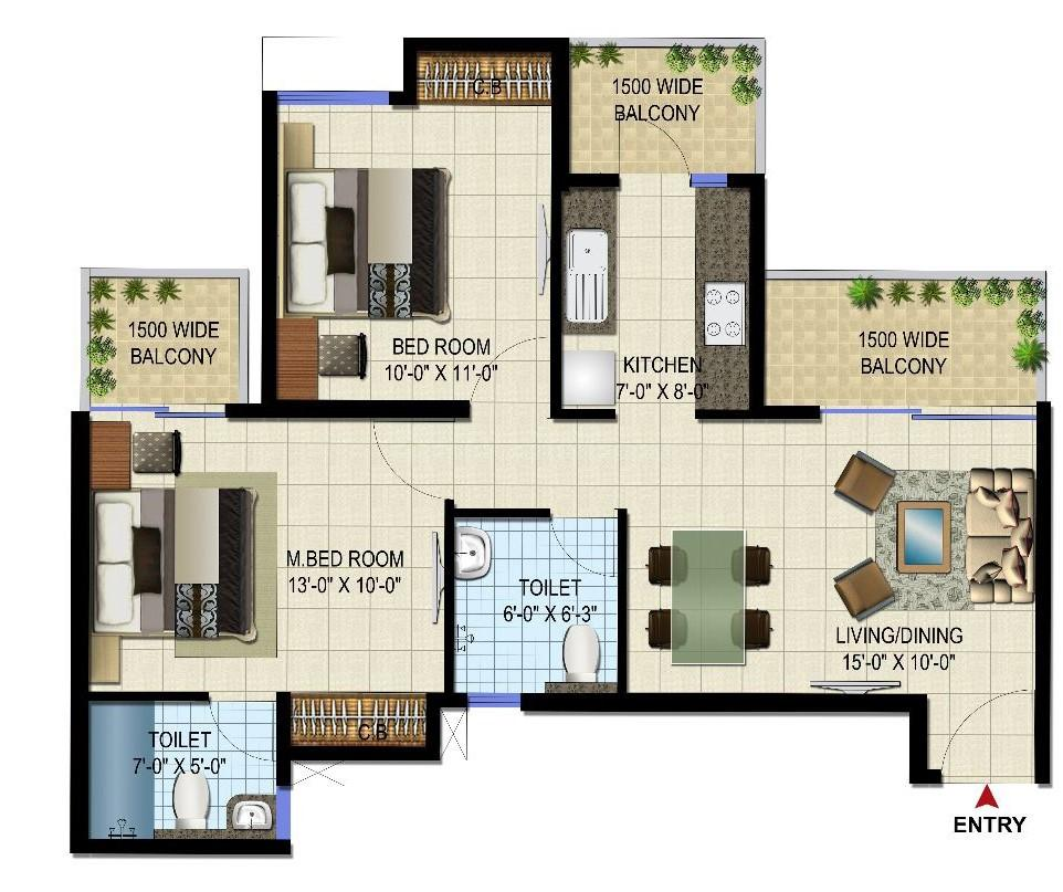 Mascot Patel Neotown Floor Plan: 2 BHK Unit with Built up area of 970 sq.ft 1