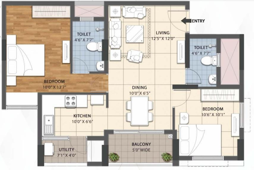 RWD Grand Corridor Floor Plan: 2 BHK Unit with Built up area of 1061 sq.ft 1