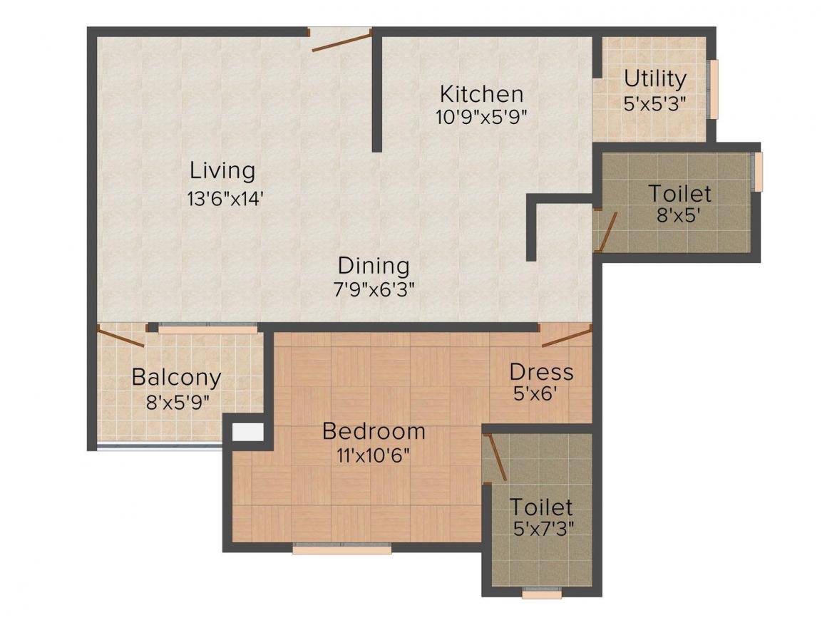 Floor Plan Image of 825.0 - 990.0 Sq.ft 1 BHK Apartment for buy in Nandi Retreat