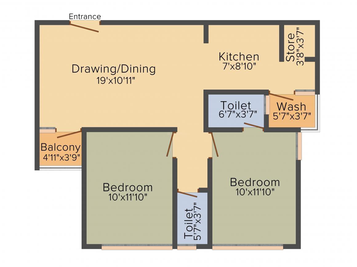 Padmavati Residency Floor Plan: 2 BHK Unit with Built up area of 1170 sq.ft 1