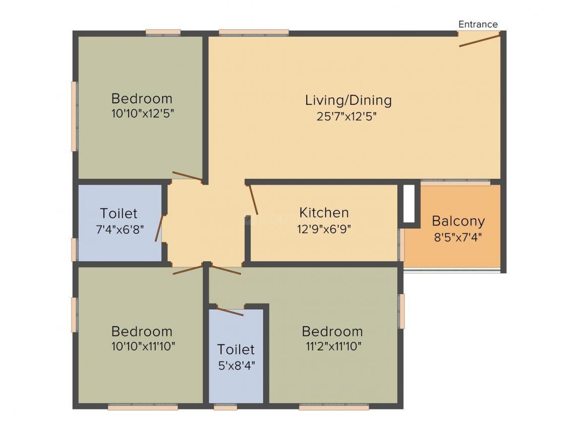 Floor Plan Image of 1114.0 - 1595.0 Sq.ft 2 BHK Apartment for buy in Dynamo Ganga Greens