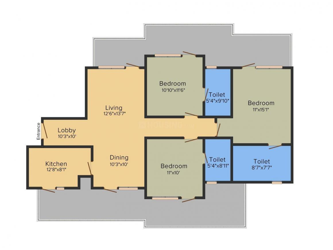 Floor Plan Image of 1900 - 2675 Sq.ft 3 BHK Apartment for buy in Bestech Park View Altura