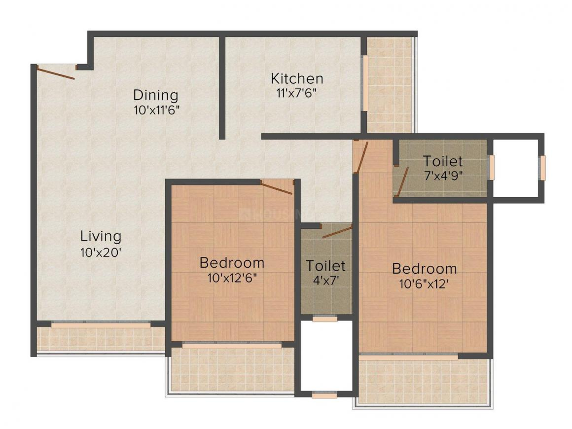 Floor Plan Image of 724.0 - 917.0 Sq.ft 2 BHK Apartment for buy in Raunak Sai Dham Towers