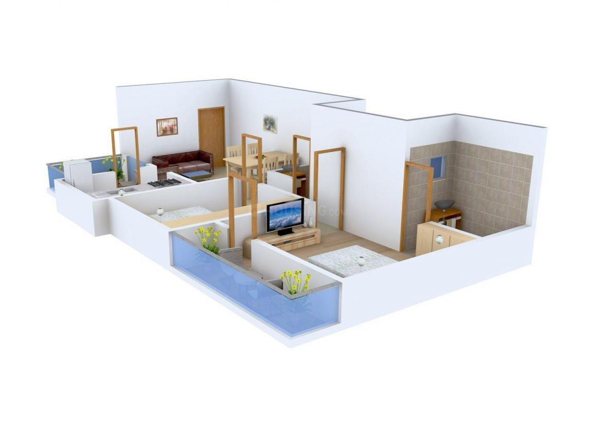 Floor Plan Image of 0 - 647.0 Sq.ft 2 BHK Apartment for buy in Karam Corp Sun Solitaire
