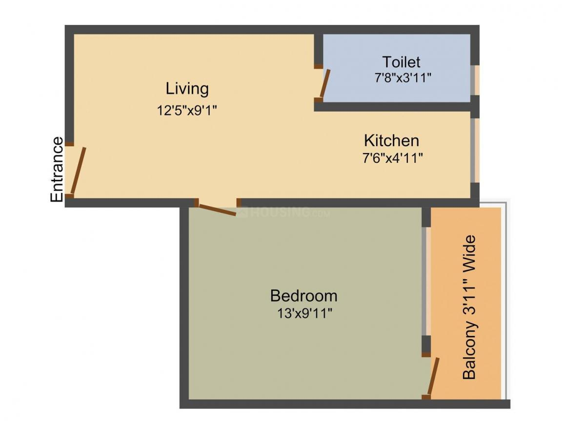 Floor Plan Image of 486.0 - 1283.0 Sq.ft 1 BHK Apartment for buy in Apex Basushree Housing