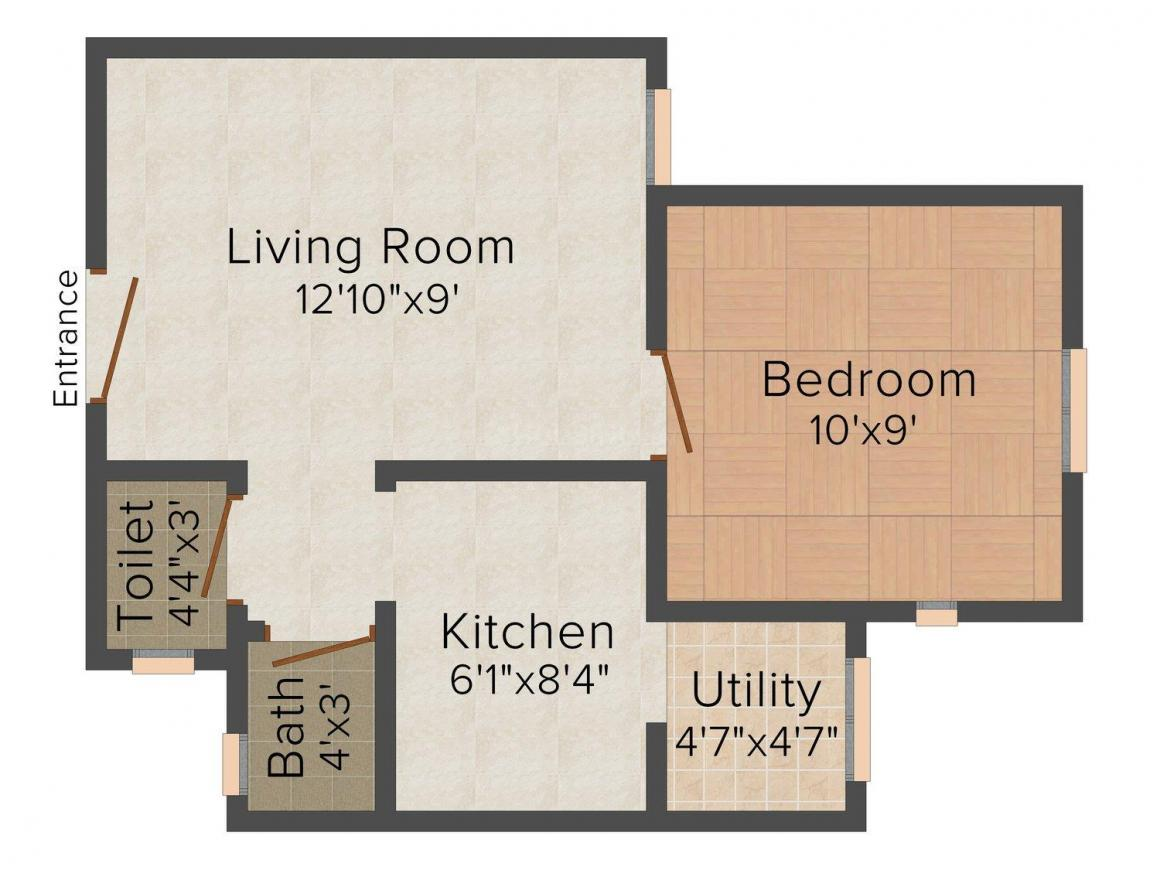 Floor Plan Image of 370 - 630 Sq.ft 1 BHK Apartment for buy in DBS Umang Narol 3 To 8