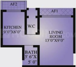AV Crystal Tower Floor Plan: 1 BHK Unit with Built up area of 230 sq.ft 1