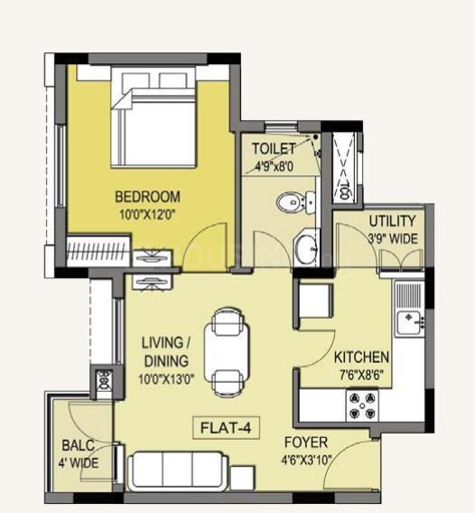 Manhattan Condos Floor Plan: 1 BHK Unit with Built up area of 620 sq.ft 1