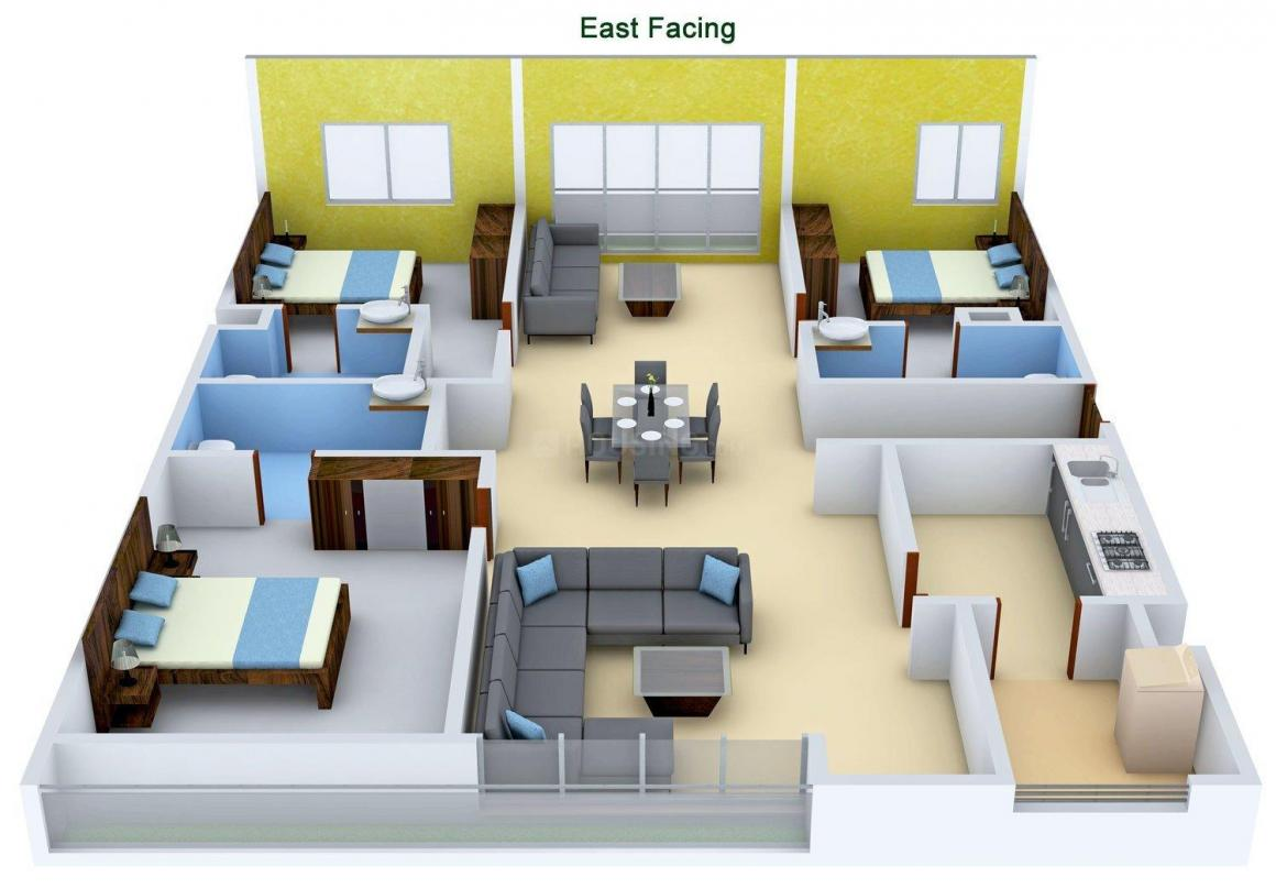 Rising Lyrics Floor Plan: 3 BHK Unit with Built up area of 2021 sq.ft 1