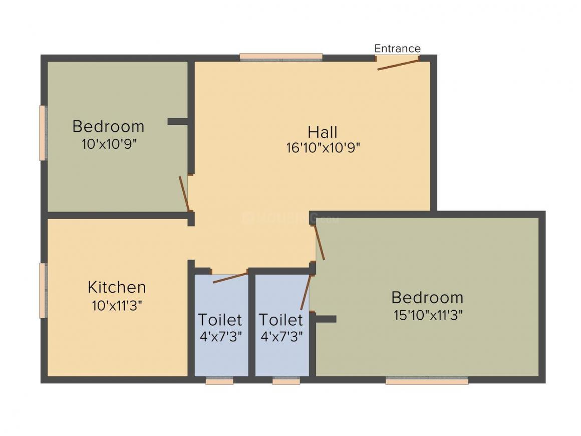 Floor Plan Image of 926.0 - 1013.0 Sq.ft 2 BHK Apartment for buy in JMM Nisha Apartments