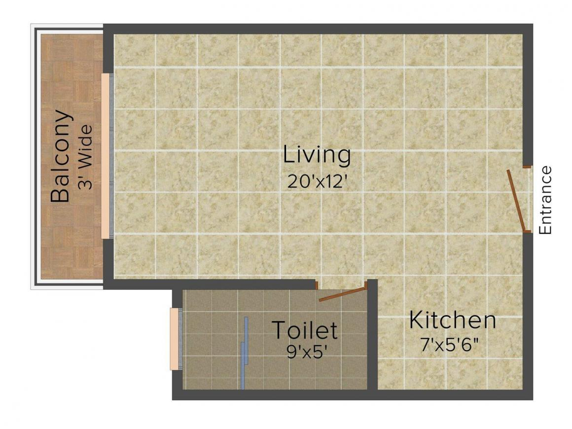 Floor Plan Image of 488 - 956 Sq.ft 1 RK Apartment for buy in Disha Direct Bay Vista
