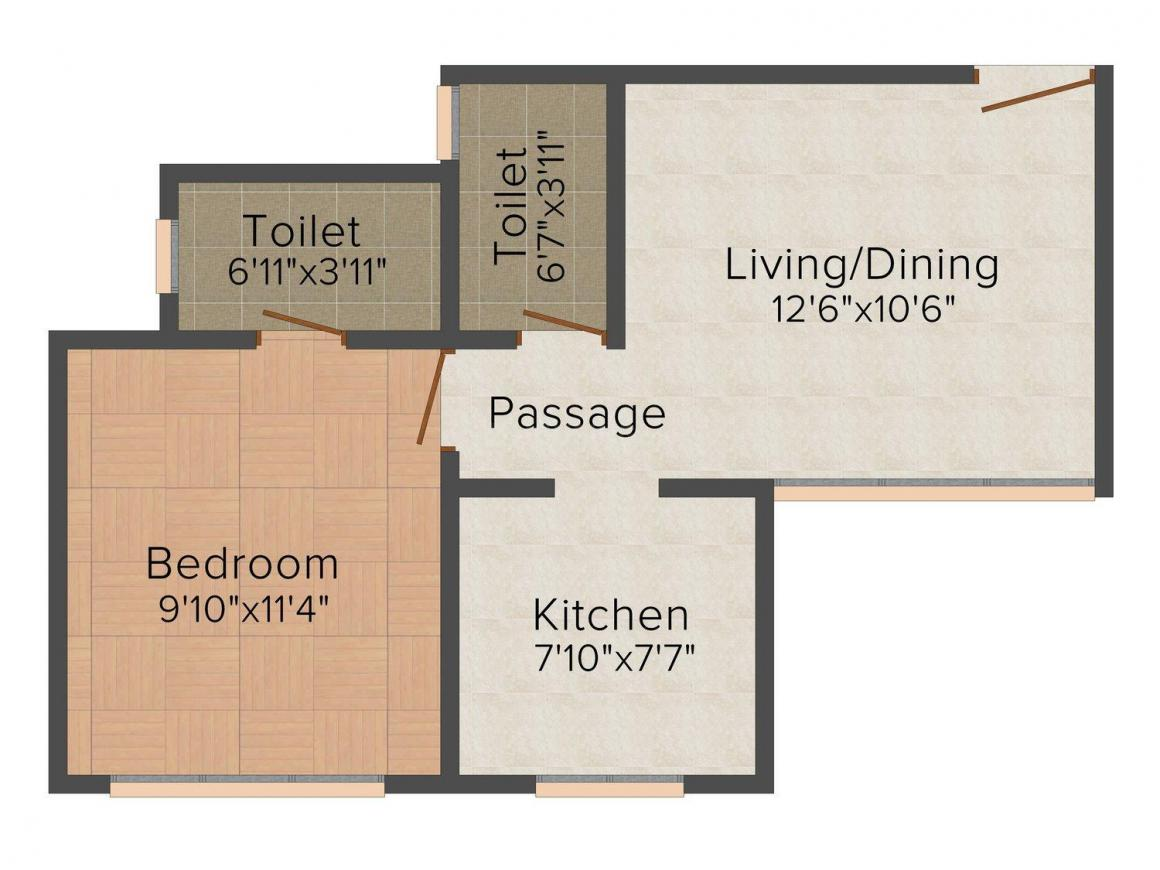 Floor Plan Image of 377.0 - 674.0 Sq.ft 1 BHK Apartment for buy in Integrated Bhoomi
