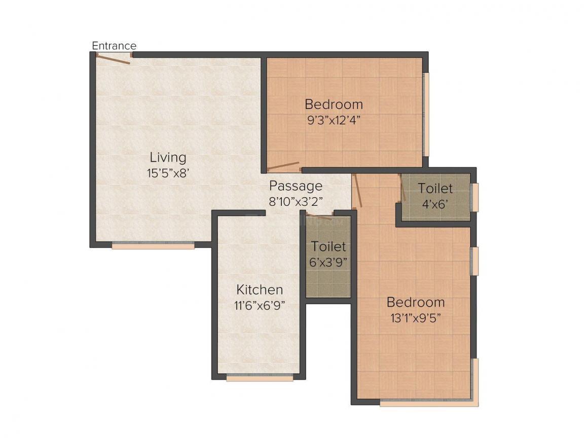 Floor Plan Image of 580 - 743 Sq.ft 2 BHK Apartment for buy in Kamla Leelaraj