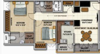Trisquare Felicity Floor Plan: 2 BHK Unit with Built up area of 956 sq.ft 1