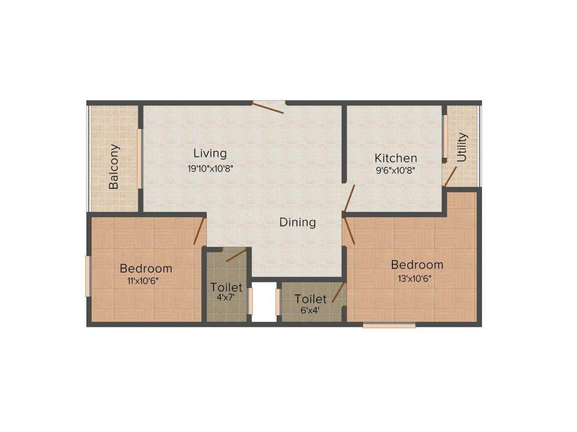 Floor Plan Image of 1080 - 1200 Sq.ft 2 BHK Apartment for buy in Citadil Brindavan Enclave