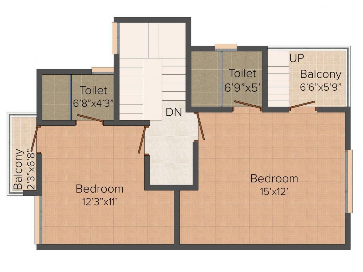 Floor Plan Image of 0 - 1300 Sq.ft 3 BHK Bungalow for buy in Urban Shubh Home Bungalows
