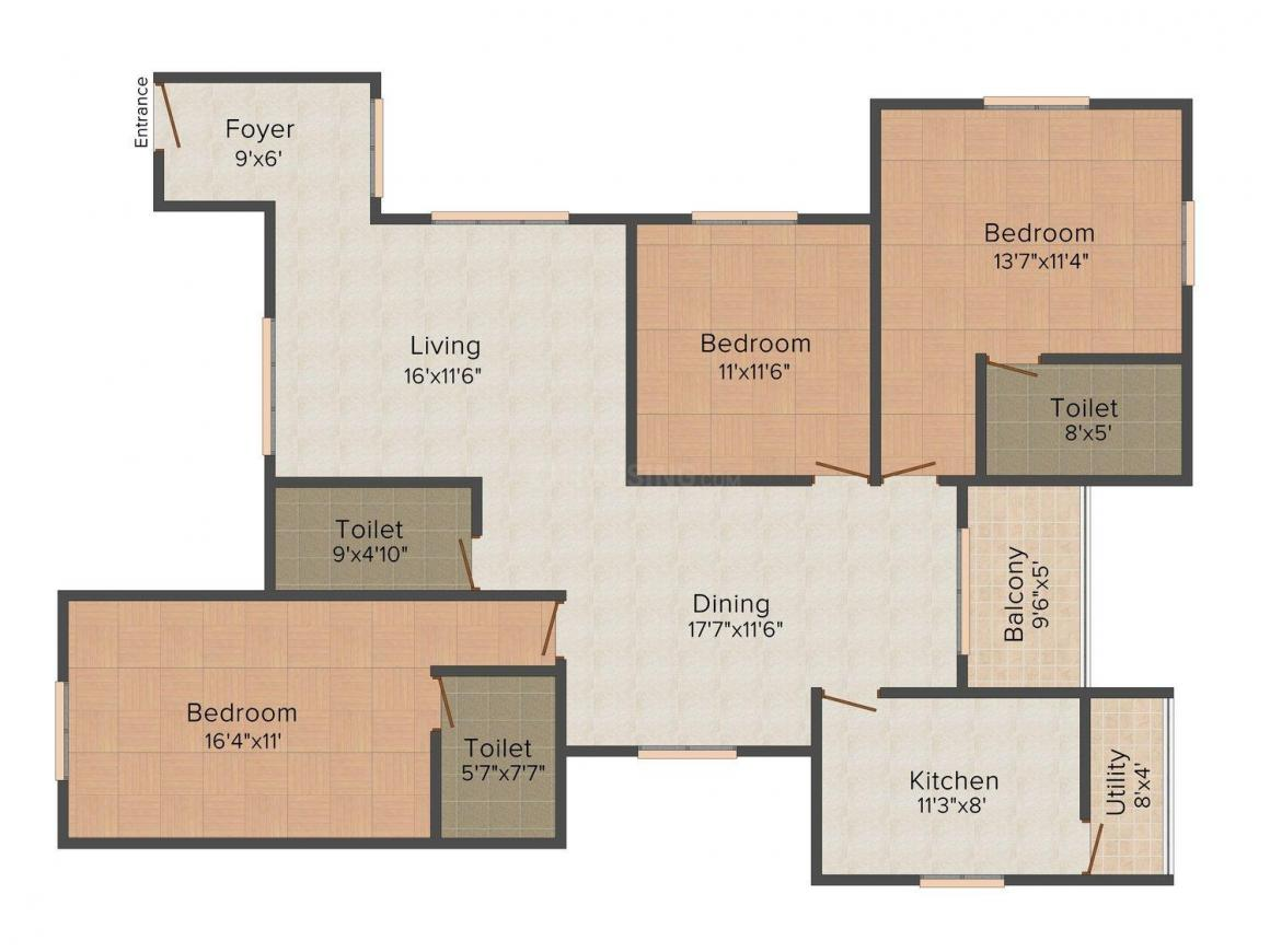 Floor Plan Image of 1480 - 1916 Sq.ft 2 BHK Apartment for buy in Mayflower Caladium