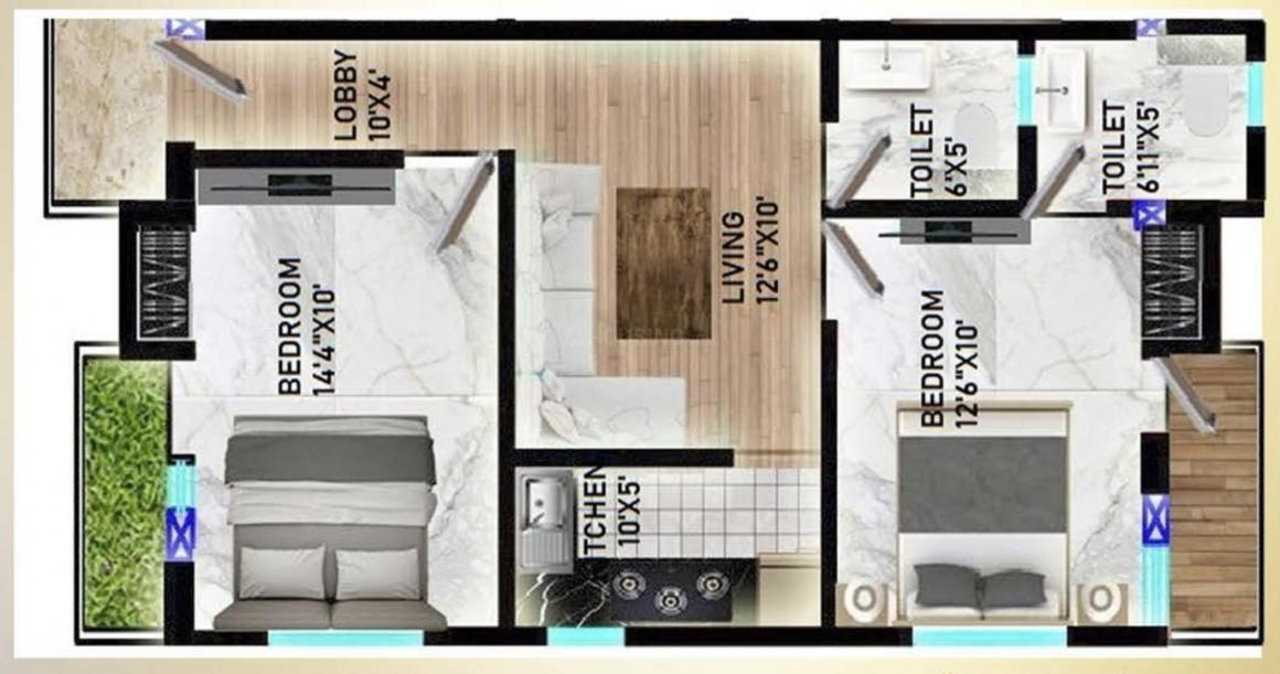 Mahadev Apartment Floor Plan: 2 BHK Unit with Built up area of 750 sq.ft 2